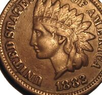 OLD US COINS 1882 INDIAN HEAD CENT PENNY FULL LIBERTY BEAUTY
