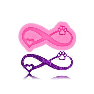 Love Ribbon Bear Paw Heart Infinity Silicone Mold Clay Resin Keychain Pendant