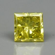 Rare! 0.10ct SI Square Princess Natural Fancy Yellow Diamond, #17