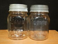 2 Vintage LAMB PINT MASON CANNING STORAGE JARS CLEAR SQUARE W/ ZINC LIDS LOT