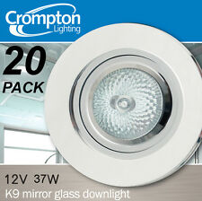 20 Pack x K9 Crystal Glass Fixed Downlight Fittings 12V MR16 Clear / White
