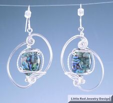 Sculpted Paua Shell Earrings Handcrafted Sterling Silver Wire