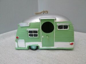 """Spoontiques TRAILER RV CAMPER Birdhouse Durable Resin Gift 7.5"""" Green"""