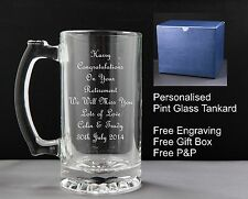 Personalised 500ml Glass Tankard, Retirement, Leaving Birthday Wedding Gift