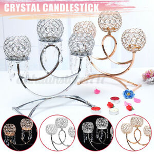 3 Heads Elegant Tea Light Crystal Candle Holder Candlestick Wedding Table Dec