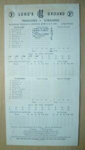 1953 Cricket Scorecards MIDDLESEX v YORKSHIRE Lord's Ground June 3 day Match