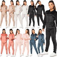Womens Diamante Print Jogging Bottom Loungewear Velvet Velour 2Pc Hood Tracksuit