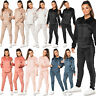 Womens Diamante Print Jogging Bottom Loungewear Velvet Velour 2Pc Hood Tracksuit