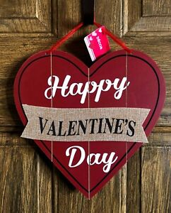 "Happy Valentines Day Wood Burlap Heart Wall Door Sign Decor 12"" New"