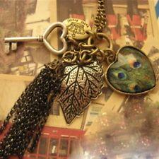Fashion Women Girl Retro Heart Key Pendant Peacock Leaf Long Chain Necklace D