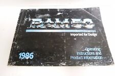 1986 RAM 50 IMPORTED FOR DODGE- OPERATING INSTRUCTION, PRODUCT INFORMATION