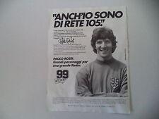 advertising Pubblicità 1982 RADIO RETE 105 e PAOLO ROSSI