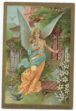 Beautiful Large 1884 Embossed Easter Card of Angel holding Baby by Bufford
