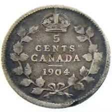 1904 Canada 5 Cents Small Silver Circulated Edward VII Five Cents Coin P200