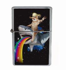 Cat Rainbow Shark Rs1 Flip Top Oil Lighter Wind Resistant With Case