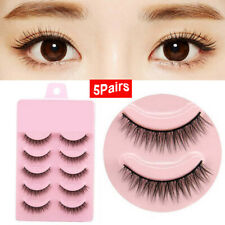 5 Pairs Natural Short Cross False Eyelashes Handmade Makeup Fake Eye Lashes sm