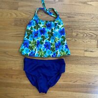 Lands' End Womens Tankini Swim Bathing Suit Blue Green White Floral Size 14