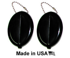 2 BLACK RUBBER SQUEEZE COIN HOLDER KEYCHAIN MONEY CHANGE PURSE OVAL DURABLE NEW