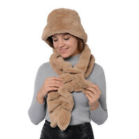 Tan 100% Polyester Faux Fur Bucket Hat Wave Scarf Women Winterwear Accessories