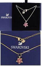 New SWAROVSKI Rhodium, Gold Pink Tropical Flower Necklace 5519248, 5524356