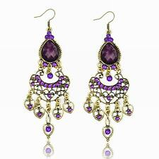 Violet Résine Coeur Cristal CZ Drop Engagement Dangle Crochet Boucle d'orelles