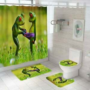 Funny Frog Shower Curtain Sets Non-Slip Rug Toilet Lid Cover and Bath Mat