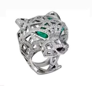 Panther Face Huge Heavy White Round Diamond Ring Hip Hop Jewelry in 925 Silver