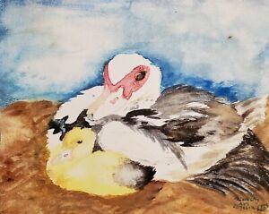 MUSCOVY Hen and Duckling Art 11x14 Signed Print of Watercolor Artist KSams Ducks