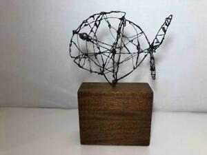 "Vintage MCM Modernist Brutalist Black Silver Wire Metal Fish Sculpture 5X8"""