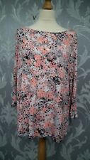 Marks and Spencers Coral and Grey Floral Top with Zip Arm Cuffs size 22
