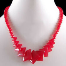 Fashion Red Jade Rhombus Pieces 18KWGP Clasp Women Girl Party Event Necklace