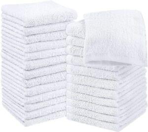 NEW 12X WHITE Face Cloths | Flannels Towels | Wash Cloths 100% Cotton 500 GSM