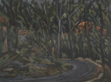 Desiderius Orban 1884-1986 Original Pastel Painting Road & Trees at Night SFAA