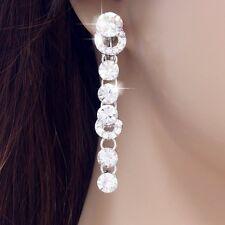 "#E517 2.2"" Long CLIP ON screw back EARRINGS Big Clear Crystal Chandelier Bridal"