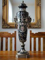 Deckelvase Porzellan Bronze Prunkvase Antik Barock Luxus Vase Urne Pokal Widder