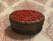 Vintage Chinese Shard Trinket Box Tibetan Silver Cinnabar Inlay Jewelry Mirror