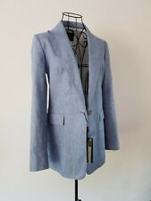 Massimo Dutti blue linen and cotton blazer jacket size 38 UK 10 New
