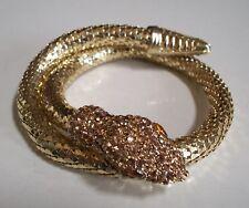 Fashion Gold Finish Rhinestones SNAKE Lady's Bangle Party Wear Wrist Bracelet