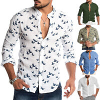 Men's Cotton Linen Long Sleeve Summer Solid Shirts Casual Loose Dress Soft Tops