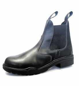 Mens Leather Steel Toe Short Yard Dealer Chelsea Work Boot Black 6 7 8 9 10