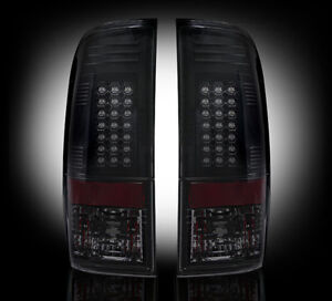 2008-2016 F250 F350 F450 F550 Super Duty Smoked RECON LED Rear Tail Lights Lamps