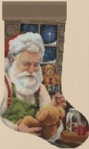 Christmas Stocking Cross stitch chart  Father Christmas 2 FlowerPower37-UK