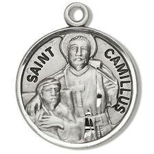 """St Camillus Sterling Silver 7/8"""" Patron Saint Medal with Stainless Steel Chain"""
