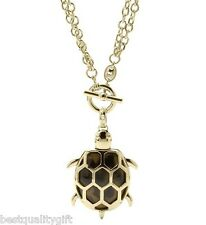 FOSSIL GOLD TONE+TORTOISE,CRYSTAL LARGE TURTLE PENDANT CHAIN NECKLACE JF00700710