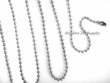 "LOT 50 BALL CHAIN NECKLACES 24"" SILVER NICKEL PLATED OR BLACK EPOXY 2.4MM BEAD"