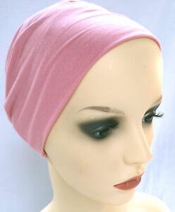 SLEEP HAT COMFORTABLE SEAM FREE BEANIE HEADWEAR FOR HAIR LOSS.  DUSKY-PINK