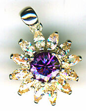 "925 Sterling Silver Purple & Yellow Cubic Zirconia Flower Pendant 5/8"" diameter"