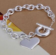 925 Sterling Silver Heart Chain Bracelet Adjustable [Hallmarked]