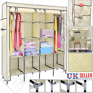 Triple Fabric Canvas Wardrobe Large Clothes Storage With Hanging Rail Portable