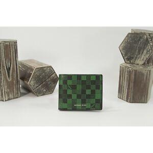 Michael Kors Mens Cooper Black Palm Green Checkerboard Slim Billfold Wallet NWT